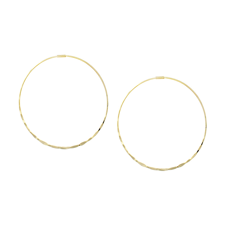 Hammered Brass Endless Hoop Earrings (50 mm)