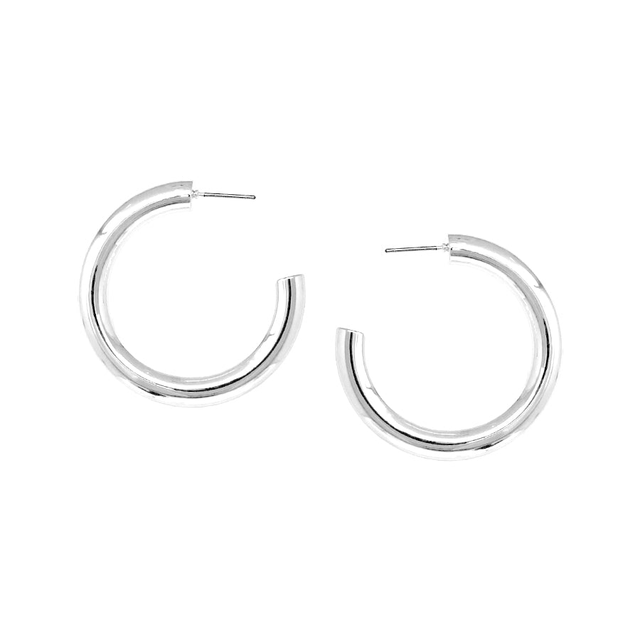 Polished Puffed Hoop Earrings (40 mm)