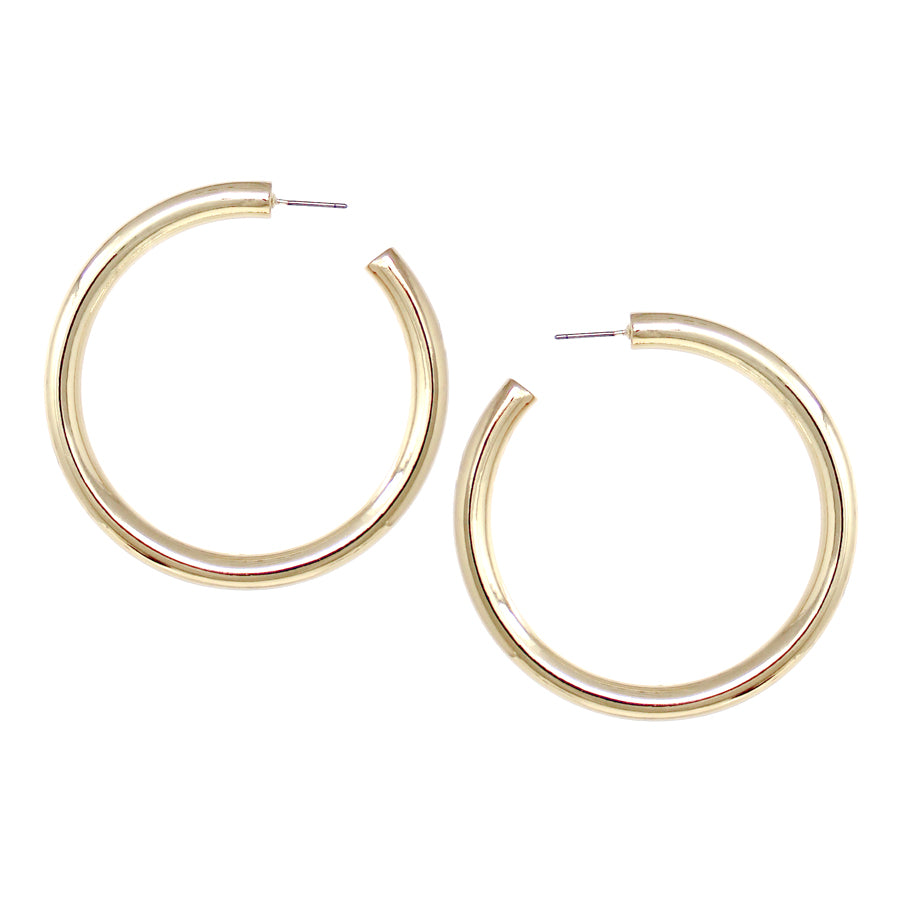 Polished Puffed Hoop Earrings (60 mm)