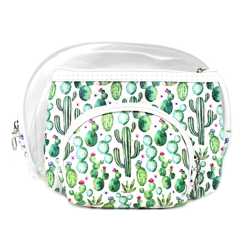 Cactus Printed Pouch Bag Set
