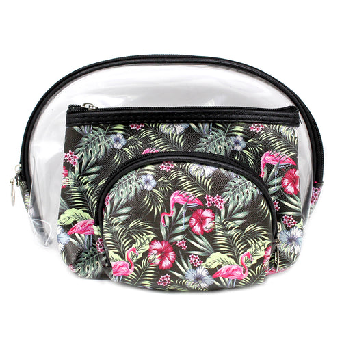 Flaming Tropical Flower Printed Pouch Bag Set