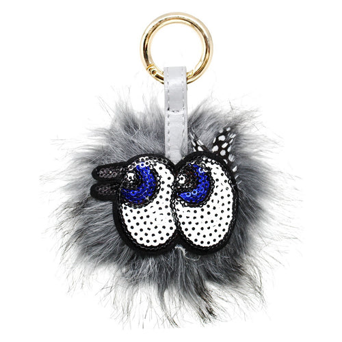 Fur Ball With Sequin Eyes Keychain