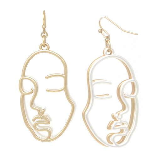 Face Double Layered Drop Earrings
