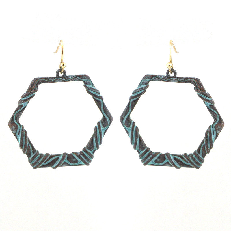 Textured Hexagon Bohemian Earrings