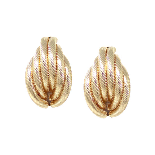 Textured Metal Multi Tube Layered Clip On Earrings
