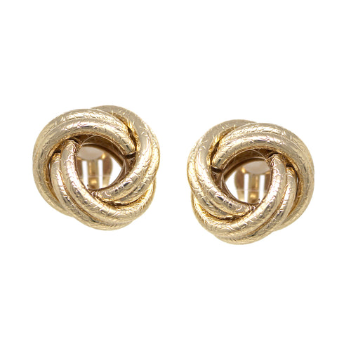 Textured Metal Knot Clip On Earrings