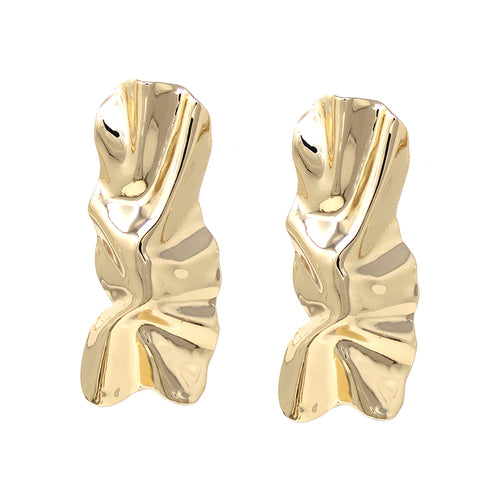 Rectangle Shaped Crumple Metal Clip On Earrings