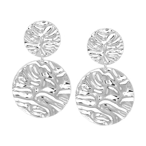 Textured Metal Double Disc Clip On Earrings