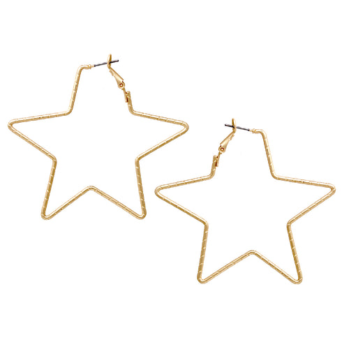 Textured Metal Star Hoop Earrings (Small)