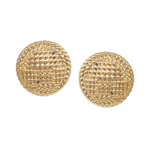 Weave Texture Disc Clip On Earrings