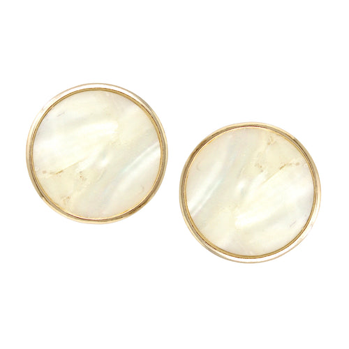 Shell Embellished Disc Chunky Stud Earrings
