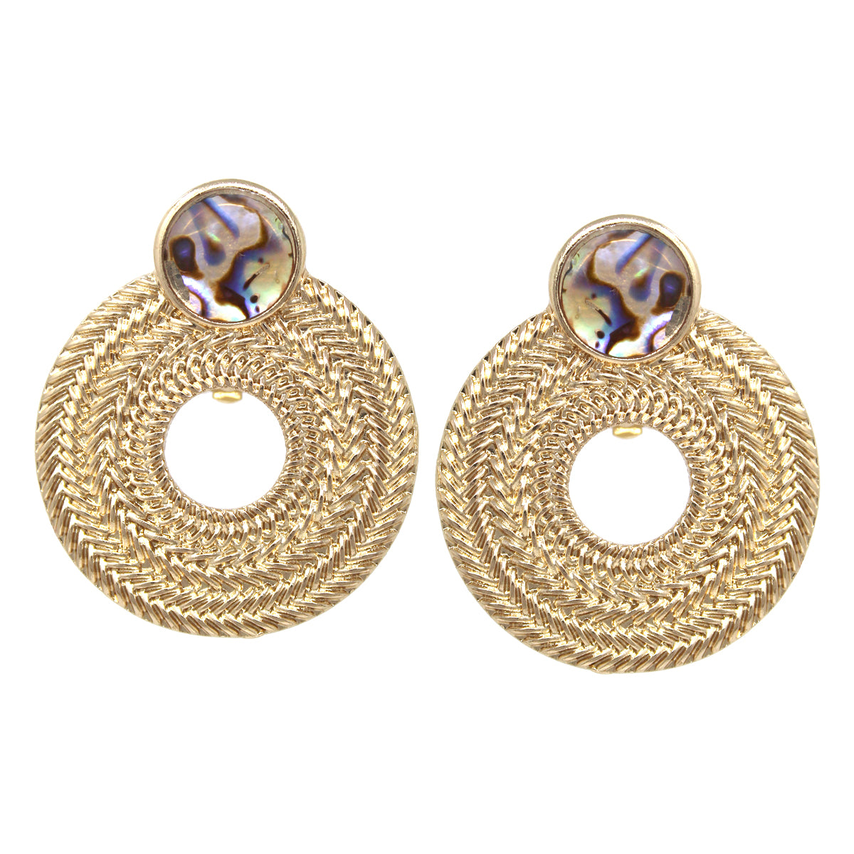 Weave Texture Hoop With Shell Disc Clip On Earrings