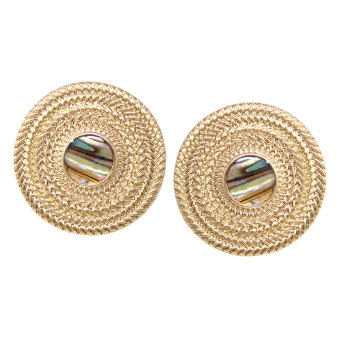 Weave Texture Metal Disc With Shell Clip On Earrings