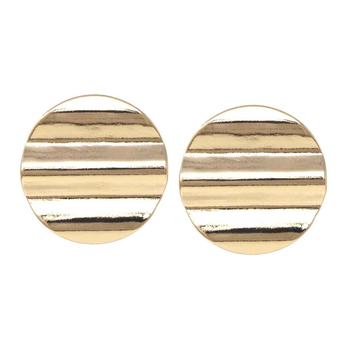Wavy Texture Disc Clip On Earrings