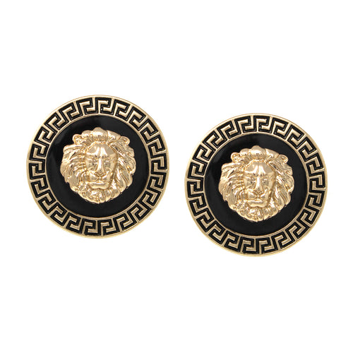 Lion Head With Color Enamel Medallion Clip On Earrings