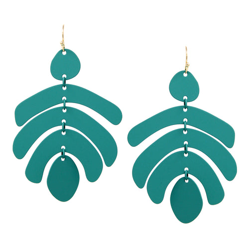Rubber Coated Metal Geometric Drop Earrings