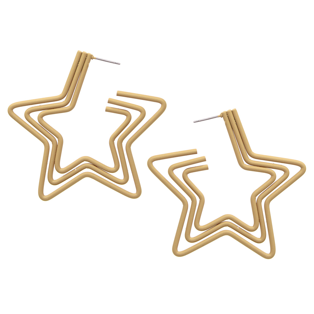 Rubber Coated Triple Star Hoop Earrings