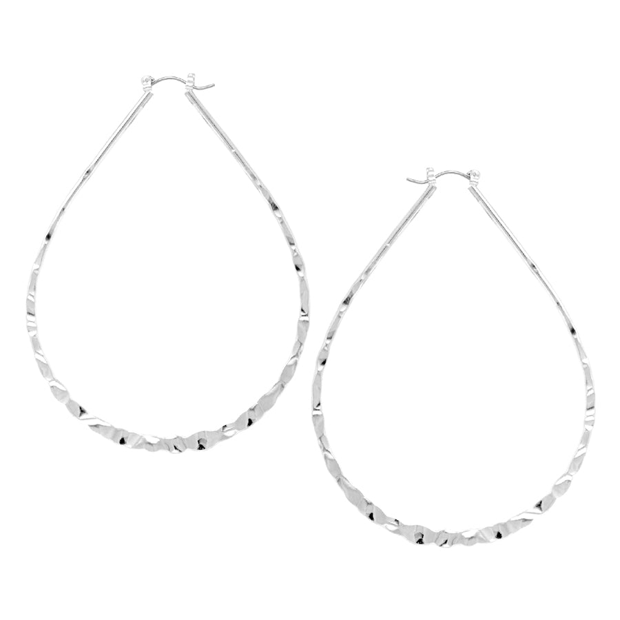 Hammered Texture Teardrop Shape Hoop Earrings