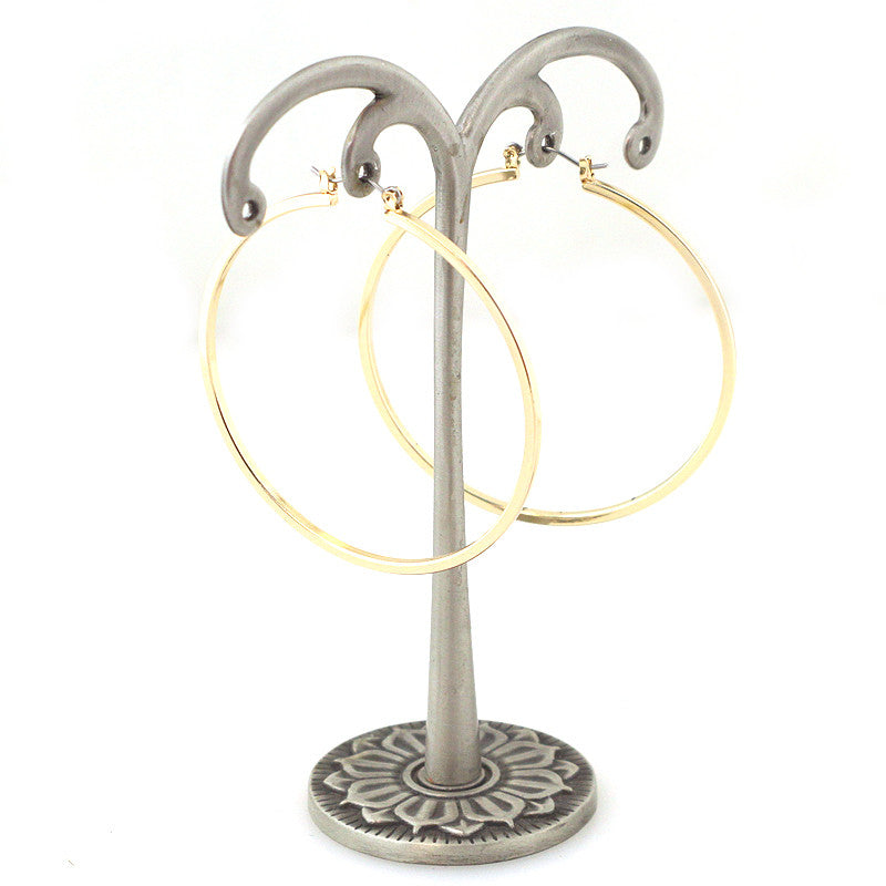 Round Plain Hoop Earrings