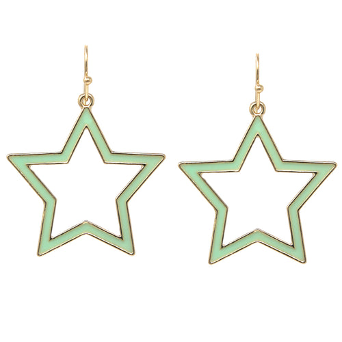 Enamel Glazed Metal Star Drop Earrings