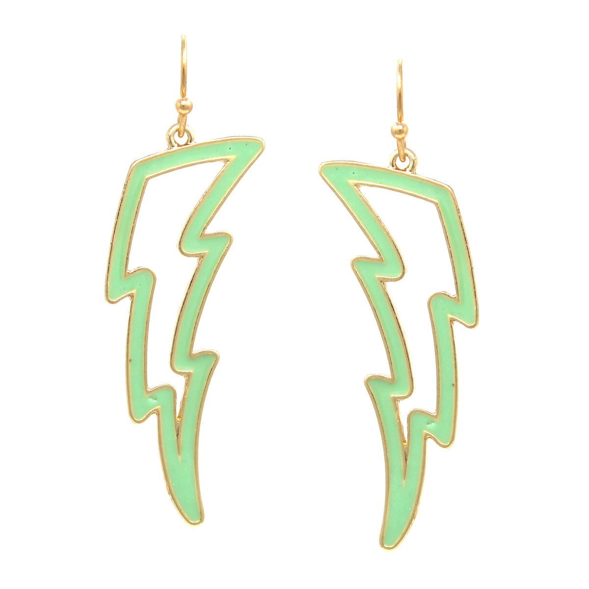 Enamel Glazed Thunder Shape Drop Earrings