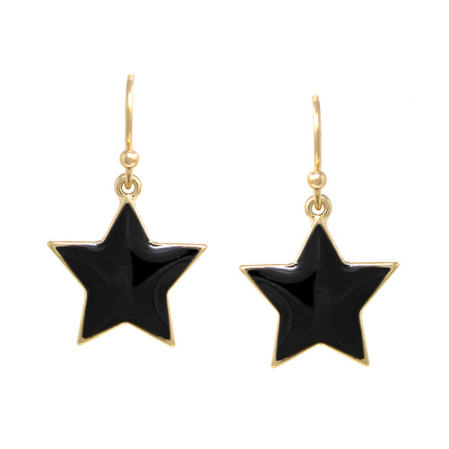 Enamel Glazed Star Drop Earrings