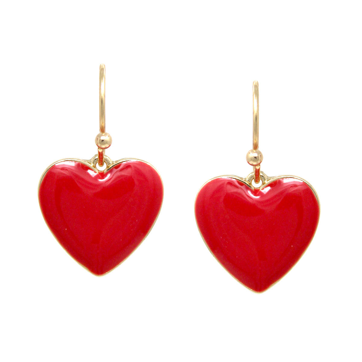 Enamel Glazed Heart Drop Earrings