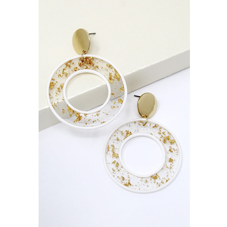 Gold Flake Acetate Hoop Drop Earrings