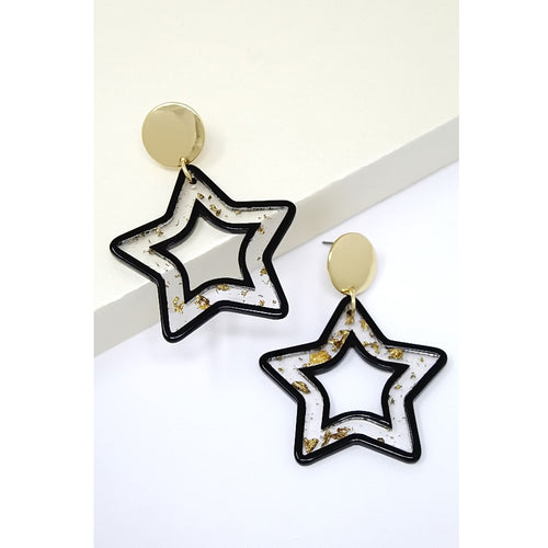 Gold Flake Acetate Star Drop Earrings