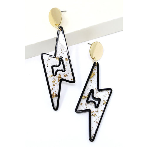 Gold Flake Acetate Thunder Bolt Drop Earrings