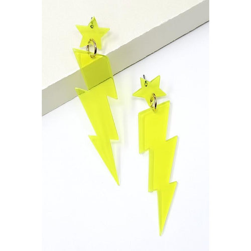 Star Thunder Bolt Acetate Drop Earrings