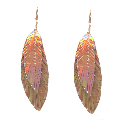 Holographic Faux Leather Double Leaf Drop Earrings
