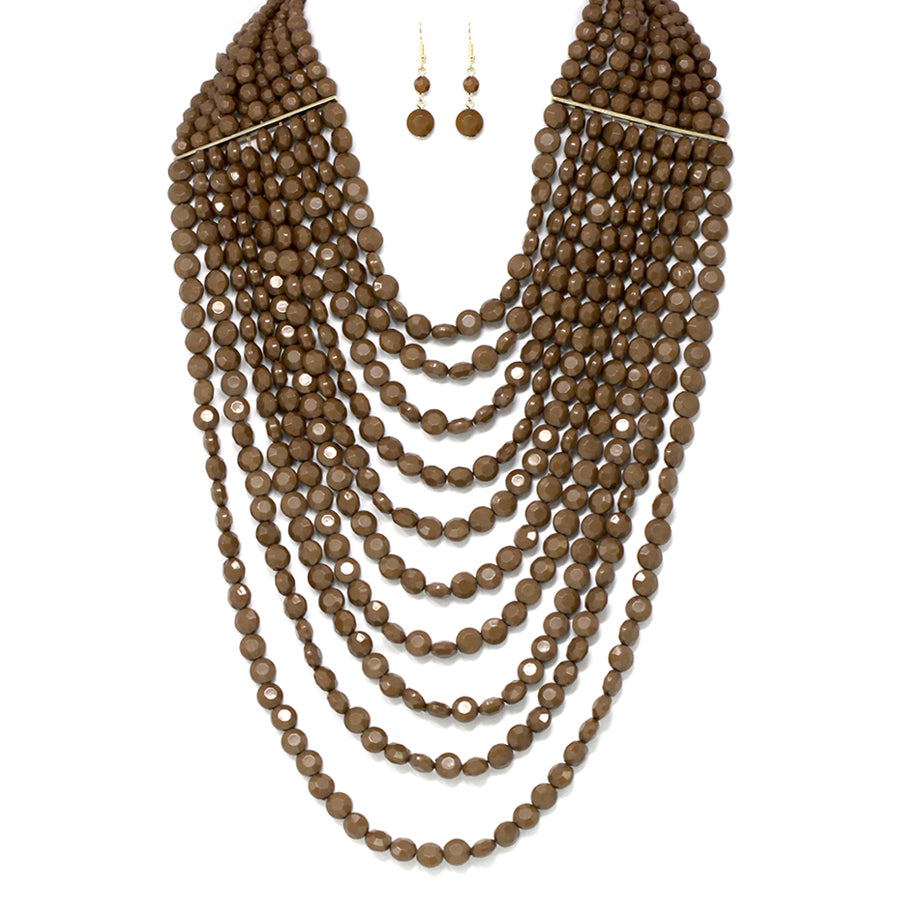Multi Strands With Metal Bar Layered Neckalce