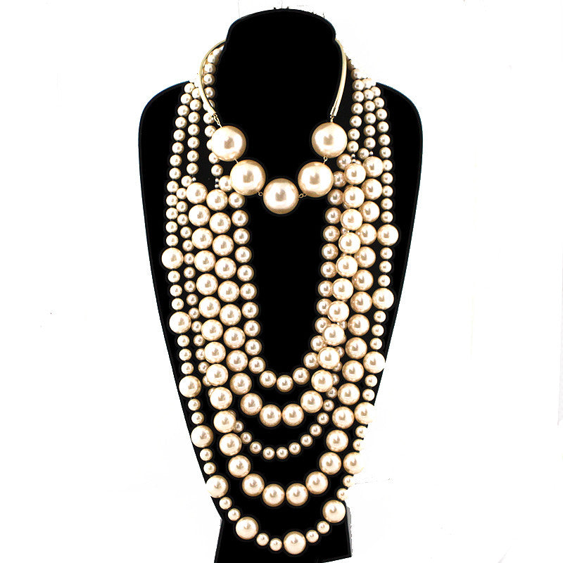 2 in 1 Multi Strands Pearl Necklace
