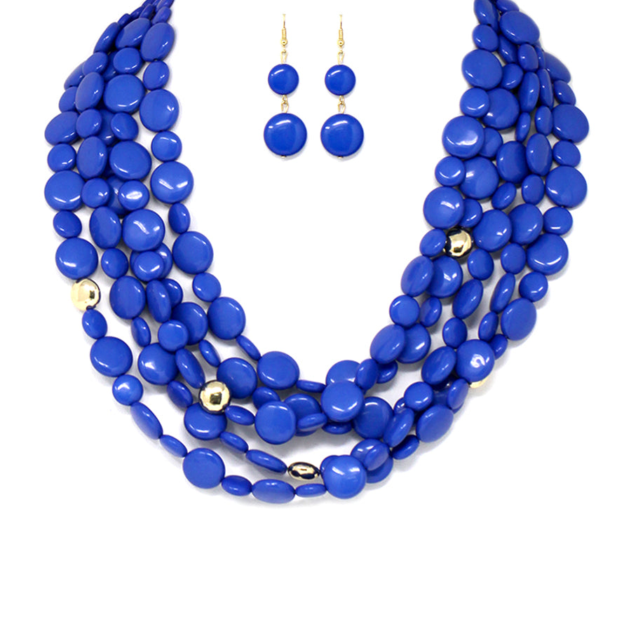Multi Strands Beaded Bib Necklace