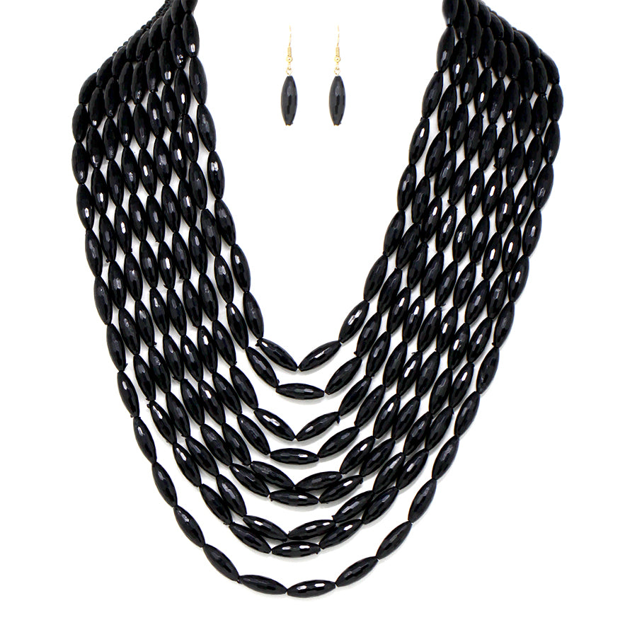 Faceted Barrel Rice Tube Bead Multi Strands Necklace