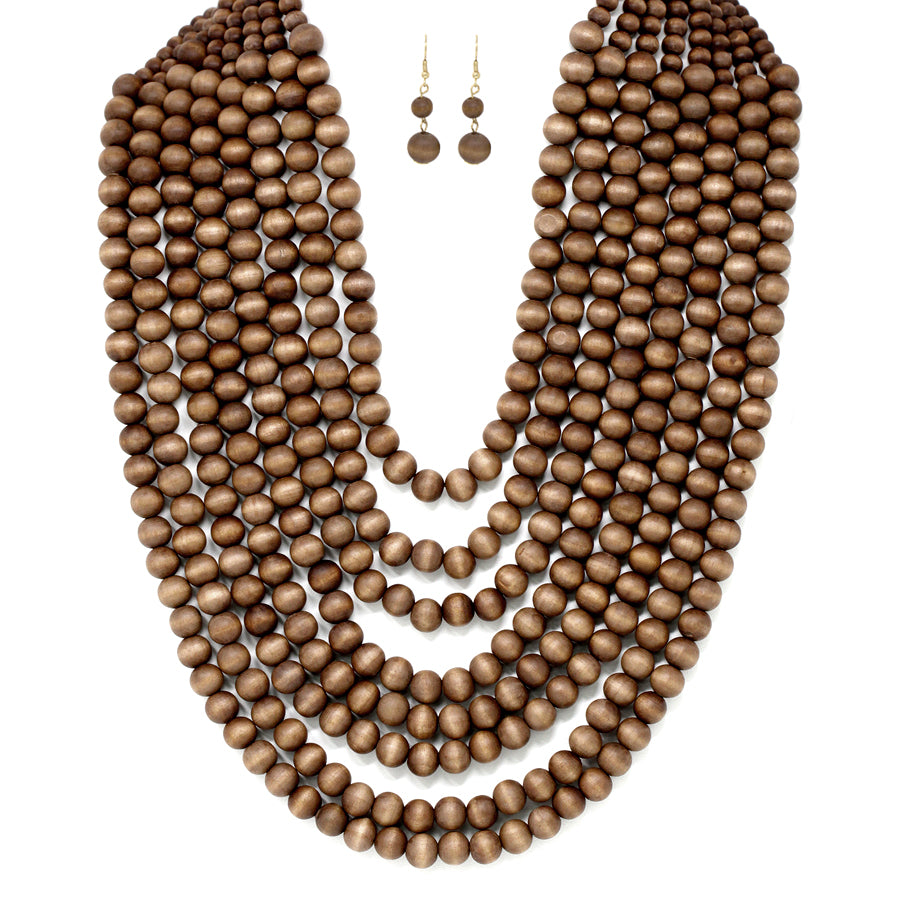 Wood Beaded Multi Strands Statement Necklace