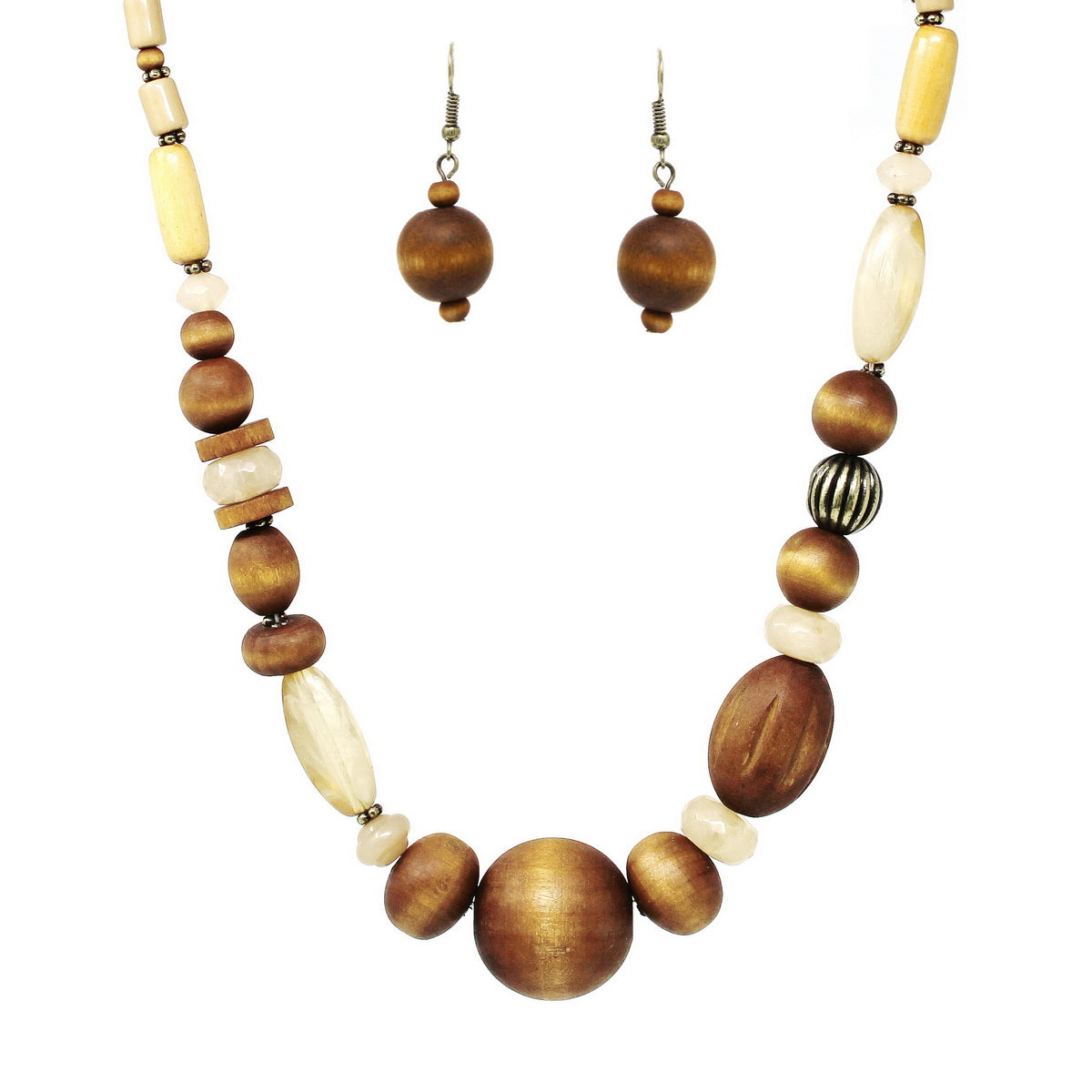 Wood And Glass Beaded Short Necklace
