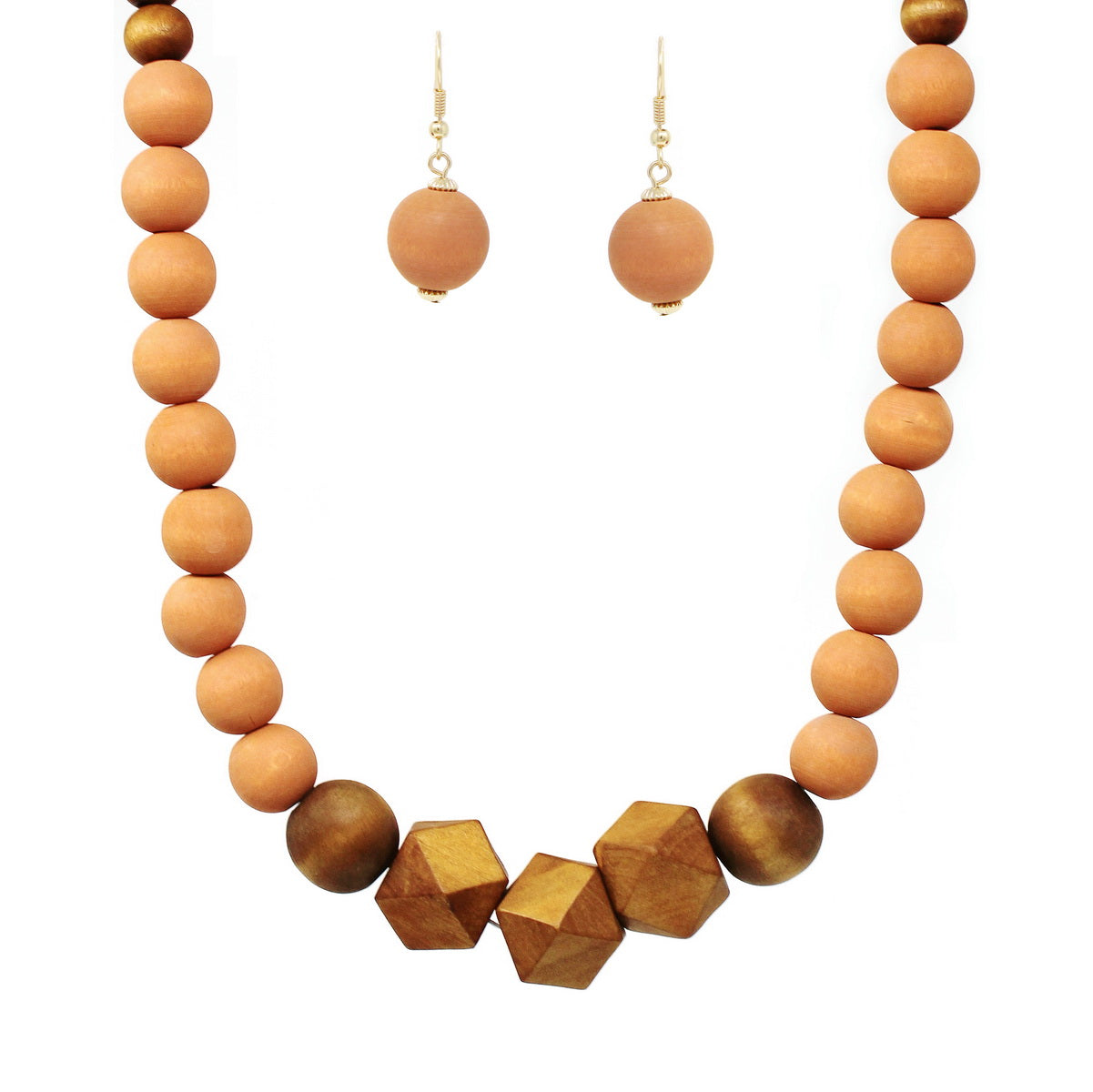 Textured Wood Beaded Short Necklace
