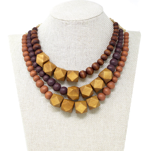 Color Coated Wood Beaded Triple Layered Short Necklace