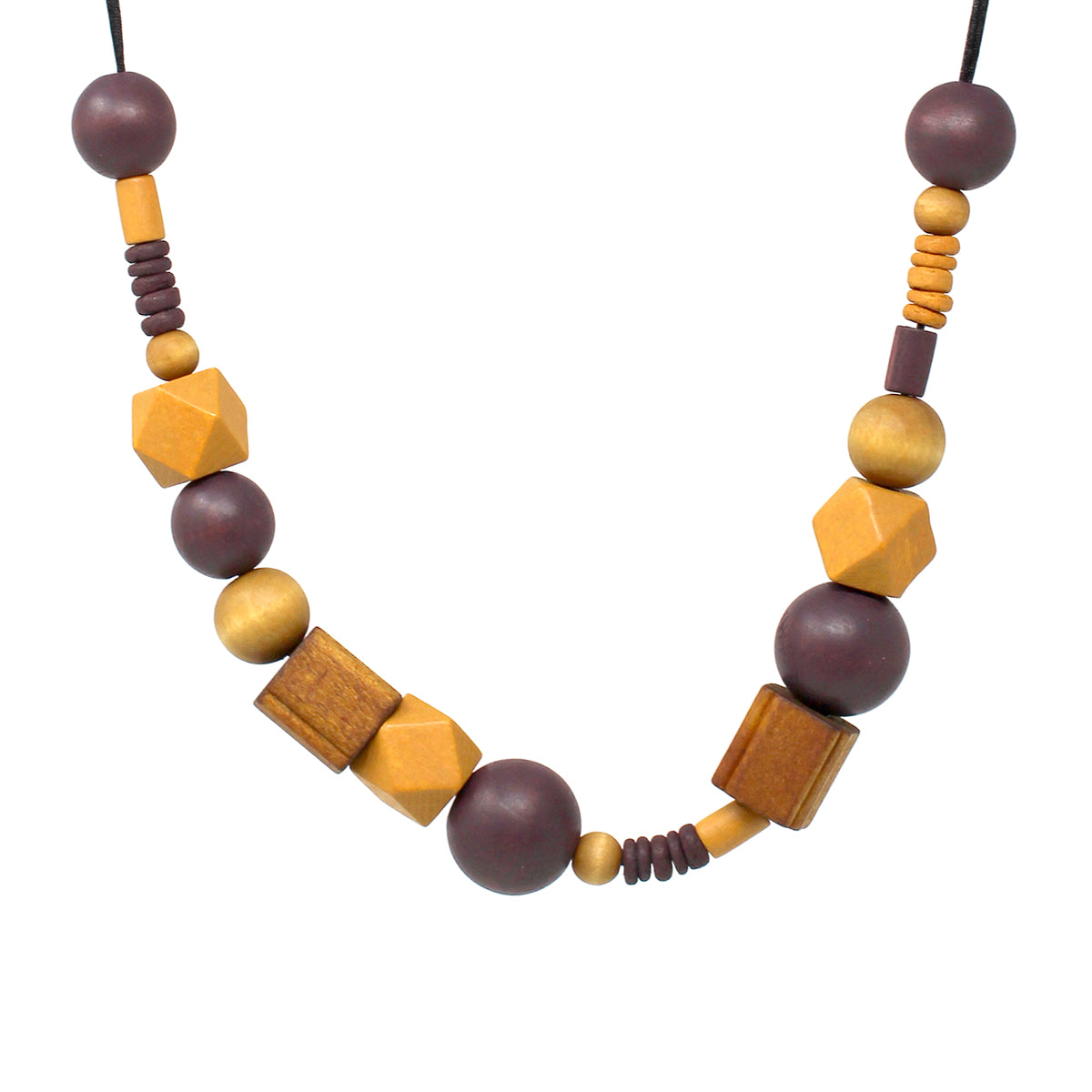 Color Coated Wood Beaded Necklace