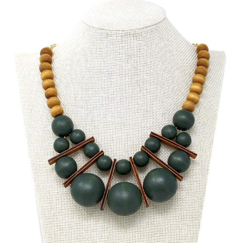 Color Coated Wood Beaded Bib Necklace