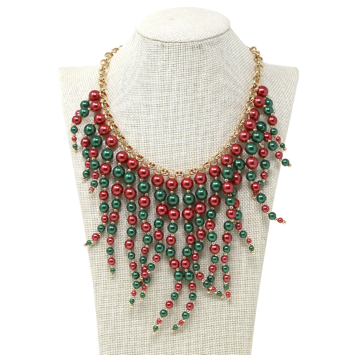 Pearl Beaded Fringe Drop Statement Necklace