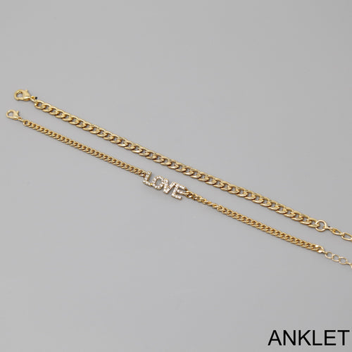 LOVE  Script Chain Anklet Set