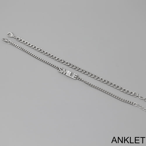 SMILE Script Chain Anklet Set