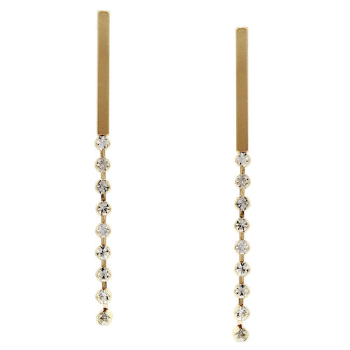 Metal Bar With Glass Stone Thread Drop Earrings