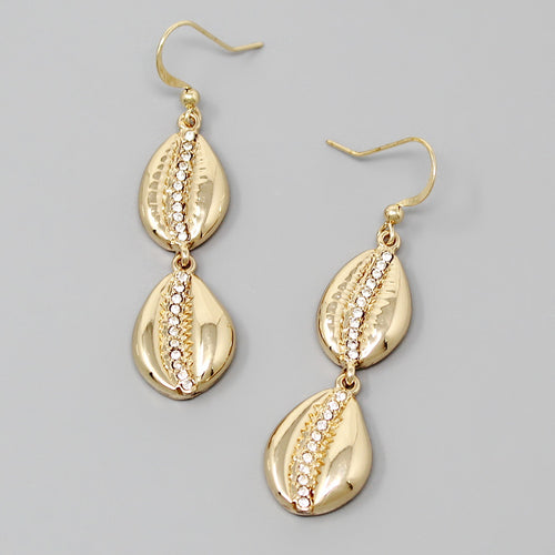 Glass Stone Pave Cowrie Shell Drop Earrings