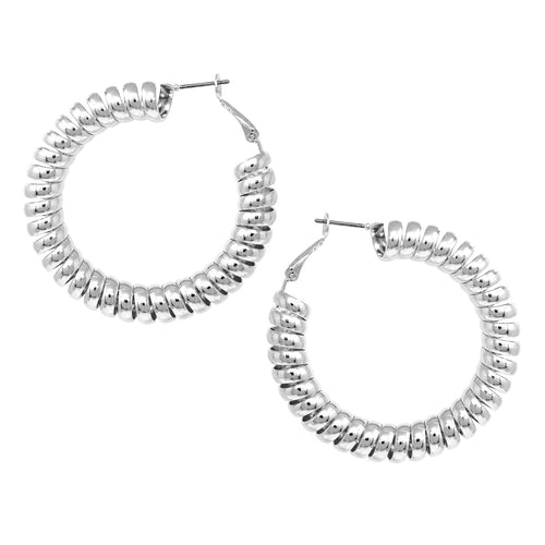 Spring Shape Metal Hoop Earrings (50 mm)