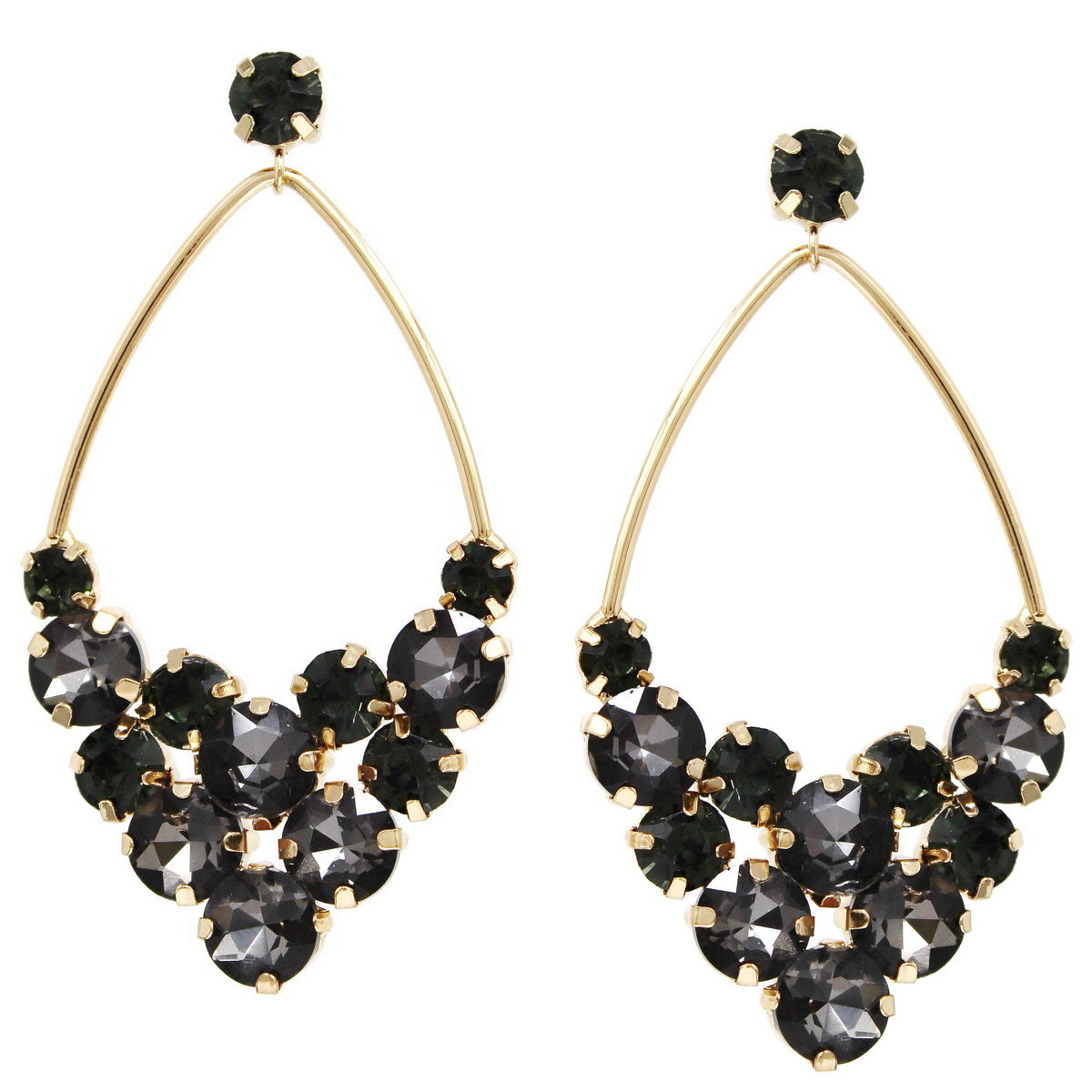 Oversize Glass Stone Marquise Shape Drop Earrings