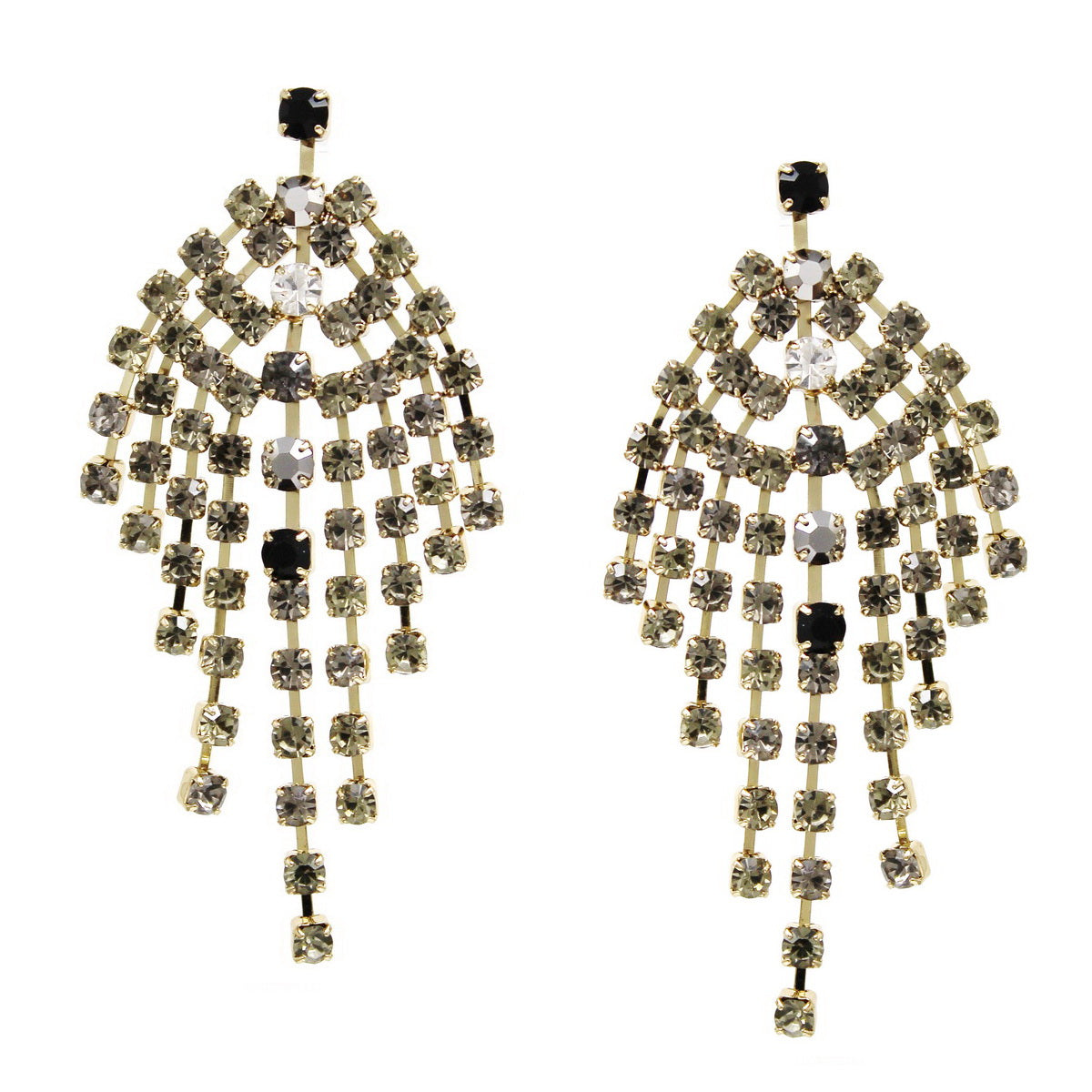 Glass Stone Fringe Statement Drop earrings
